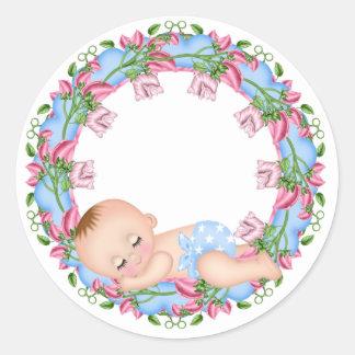 Het is een Sticker van het Baby shower van de