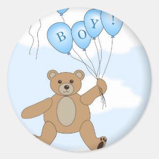 Het is een Teddybeer van de Jongen Ronde Stickers
