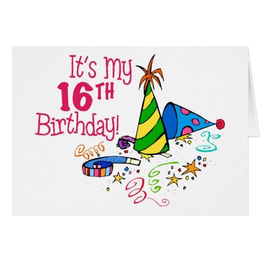 Het is mijn 16de verjaardag de petten van de part wenskaart zazzle - Mijn home design ...