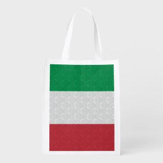 Het Italiaanse Patroon van het Damast van de Vlag Herbruikbare Boodschappentas