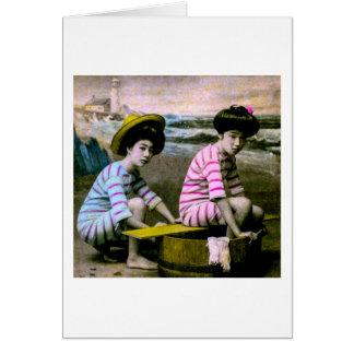 Het Japanse het Baden Vintage Strand Babes van Kaart