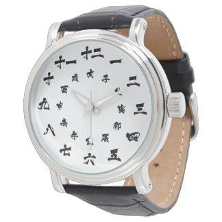 Het Japanse Kanji Wit van het Horloge van de