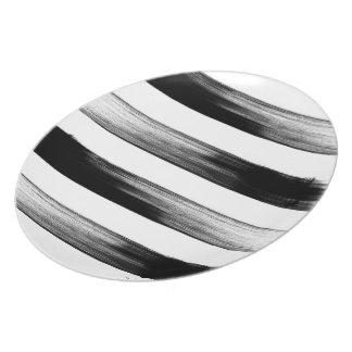 Het Japanse zwart-witte ontwerp van de inktslag, Diner Borden