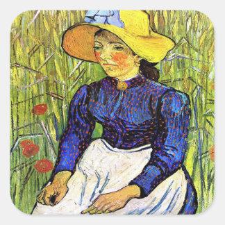 Het jonge Meisje van de Boer door Vincent van Gogh Vierkante Sticker