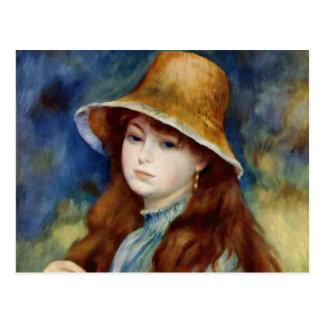 Het Jonge Meisje van Renoir in een Pet van het Briefkaart