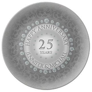 Het Jubileum van de zilveren bruiloft Porselein Bord