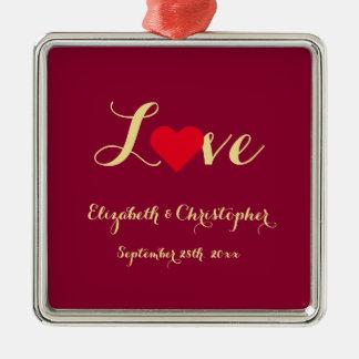 Het Jubileum van het Hart van de Liefde van de Zilverkleurig Vierkant Ornament