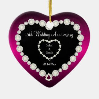 Het Jubileum van het Huwelijk DIY in Fuchsia & Keramisch Hart Ornament