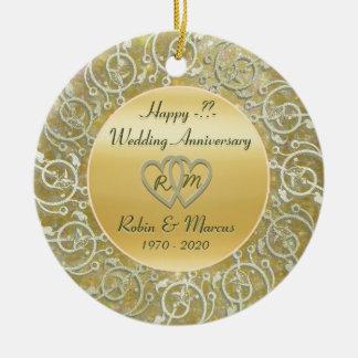 Het Jubileum van het Huwelijk van de Jaren van het Rond Keramisch Ornament