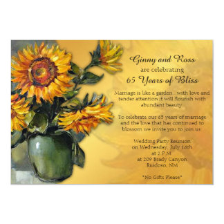 Het Jubileum van het Huwelijk van de zonnebloem 12,7x17,8 Uitnodiging Kaart