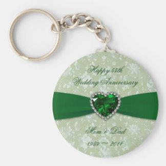 Het Jubileum van het Huwelijk van het damast Basic Ronde Button Sleutelhanger