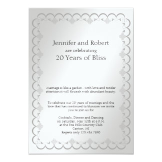 Het Jubileum van het Huwelijk van het platina 12,7x17,8 Uitnodiging Kaart