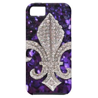 Het juweel Fleur DE Lis Paars Sequins van de fonke Tough iPhone 5 Hoesje
