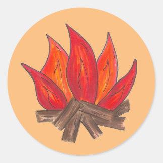Het Kamperen van de Vlammen van de Uitbarsting van Ronde Sticker