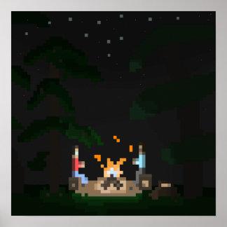Het Kampvuur van het pixel Poster