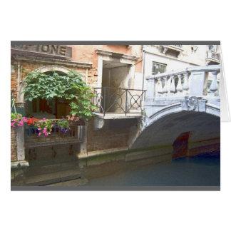 Het kanaal van Venetië en bloemdoos Wenskaart