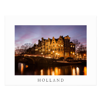 Het kanaalhuizen van Holland bij schemer wit Briefkaart