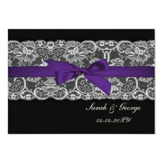 Het kant van Faux en de lint paarse zwarte bewaren 12,7x17,8 Uitnodiging Kaart