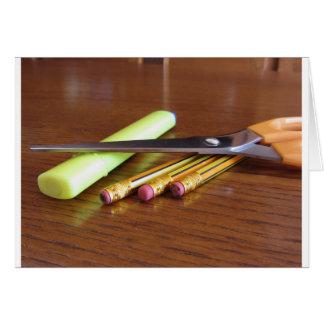 Het kantoorlevering van de school op houten lijst wenskaart