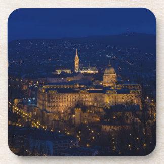 Het Kasteel Hongarije Boedapest van Buda bij nacht Drankjes Onderzetters