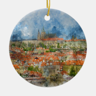 Het Kasteel van Praag met beroemd Charles Bridge Rond Keramisch Ornament
