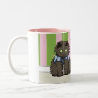 Het kat-kat van Hereeee Tweekleurige Koffiemok