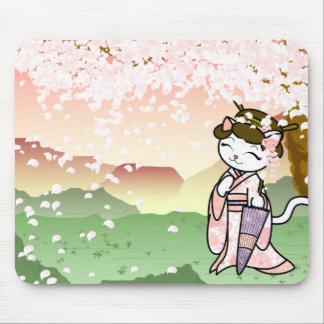 Het Kat van de Geisha van de Bloesem van de kers Muismat