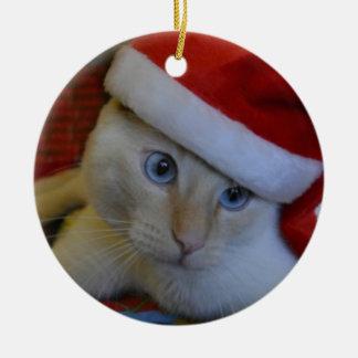 Het kat van de kerstman rond keramisch ornament