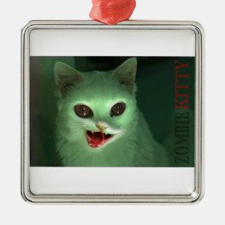 Het Kat van de zombie Zilverkleurig Vierkant Ornament