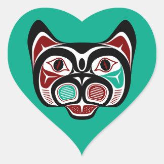 Het Kat van Haida van de Vreedzame kust van het Hart Stickers