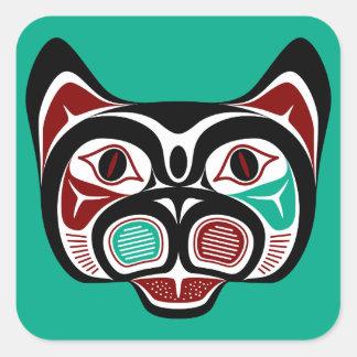 Het Kat van Haida van de Vreedzame kust van het Vierkante Stickers