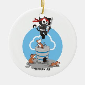 Het Kat van Ninja met Muizen Rond Keramisch Ornament