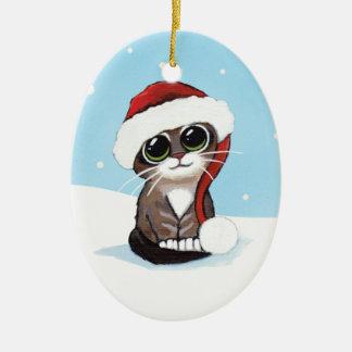 Het Katje van de Gestreepte kat van Kerstmis in Keramisch Ovaal Ornament