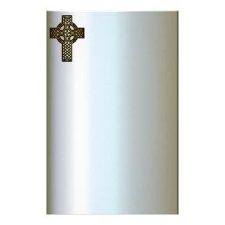 Het Keltische Kruis van de Knoop in Goud en Zwarte Briefpapier