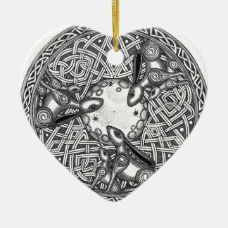 Het Keltische, Letten op van de Maan Hazen Keramisch Hart Ornament