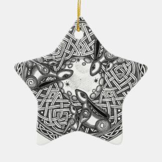 Het Keltische, Letten op van de Maan Hazen Keramisch Ster Ornament