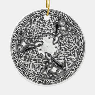 Het Keltische, Letten op van de Maan Hazen Rond Keramisch Ornament