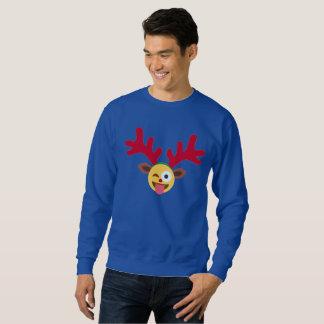 het Kerstmis rendier knipoogt emoji mannen Trui
