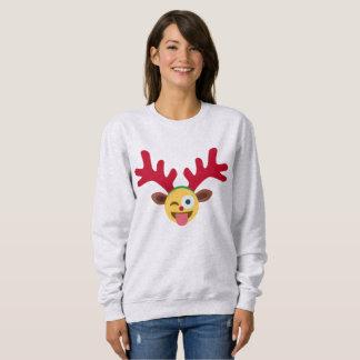het Kerstmis rendier knipoogt het sweatshirt van