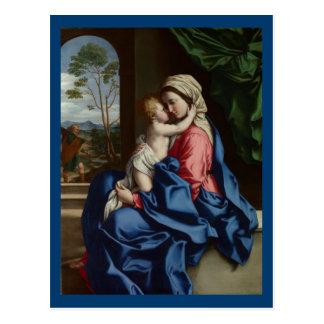 Het Kind die van Christus Zijn Moeder omhelzen Briefkaart