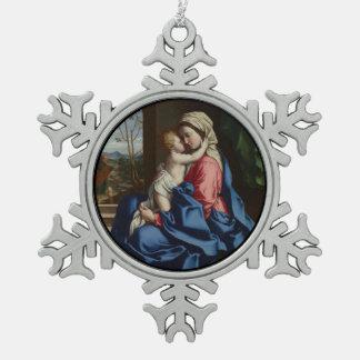 Het Kind die van Christus Zijn Moeder omhelzen Tin Sneeuwvlok Ornament