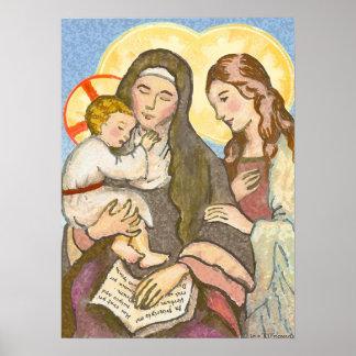 Het kind Jesus met Zijn Moeder en Grootmoeder Poster