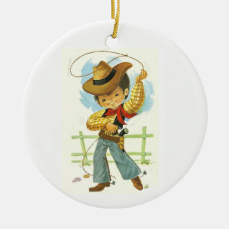 Het Kind van de cowboy Rond Keramisch Ornament