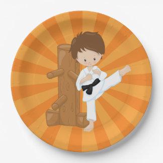 Het Kind van de karate Papieren Bordje