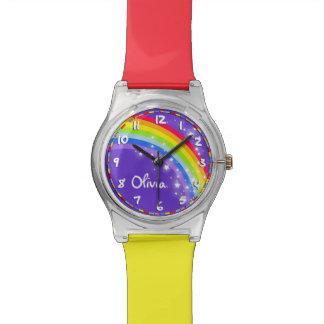 Het kind van de regenboog genoemd paars horloge