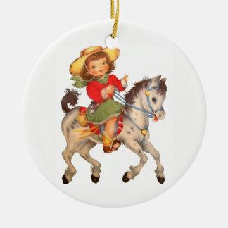 Het Kind van de veedrijfster Rond Keramisch Ornament