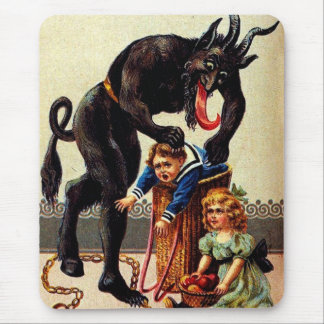 Het Kind van Krampus in Mand Vakantie Kerstmis Muismat