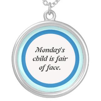 Het kind van maandagen zilver vergulden ketting
