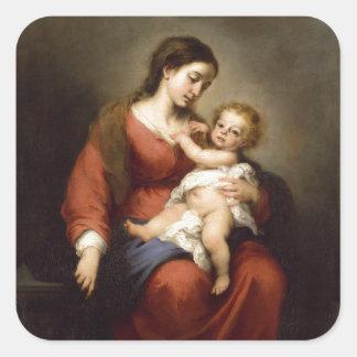 Het Kind van Virgin en van Christus Vierkante Sticker