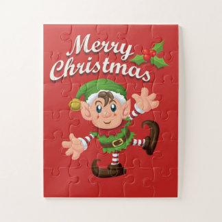 Het kinder Raadsel van het Elf van Kerstmis Legpuzzel